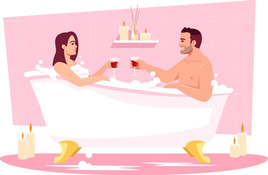 Couple in bathtub semi flat RGB color vector illustration. Romantic date at home. Wife and husband in tub with wine. Boyfriend and girlfriend isolated cartoon characters on pink background