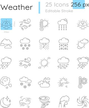 Weather linear icons set. Meteorological forecast. Sky condition prediction. Customizable thin line contour symbols. Isolated vector outline 32 x 32 px illustrations. Editable stroke