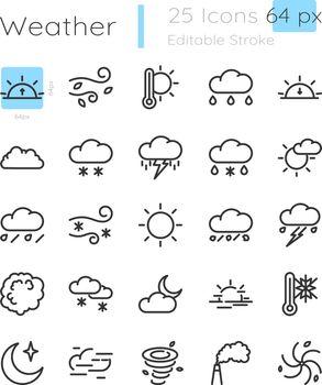 Meteorology linear icons set