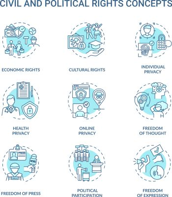 Civil and political rights concept icons set