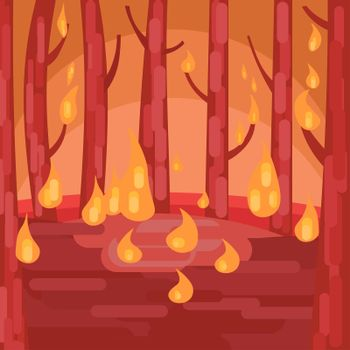 forest fire. illustration. Trees are burning. The forest is dying of fire