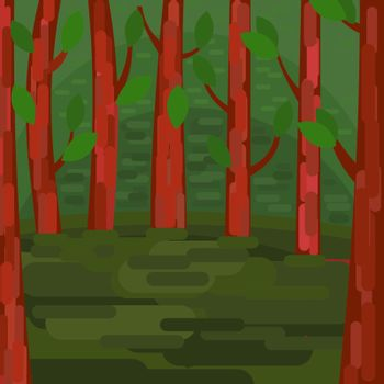 Green Forest. Trees with leaves. Tranquil forest area. Vector illustration