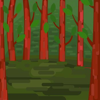 Green Forest. Trees with leaves. Tranquil forest area. illustration