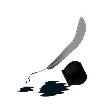 The pen and the spilled ink lie side by side. Ink spot. Vector illustration