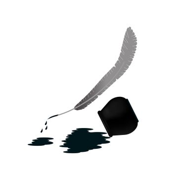 The pen and the spilled ink lie side by side. Ink spot. illustration