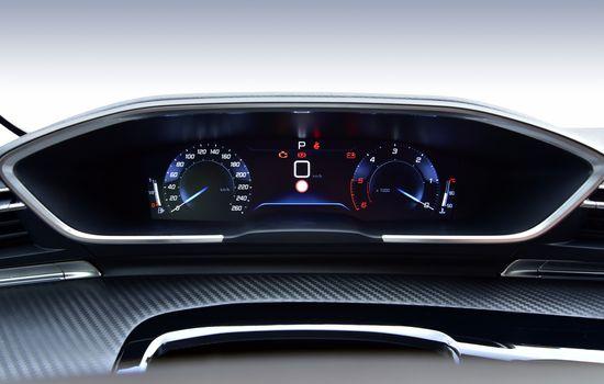 Digital instrument panel in a modern car
