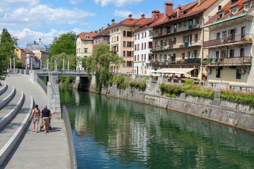 Ljubljana, Slovenia - July 16th 2018: The Ljublijanica River and central Ljubljana on a summers day