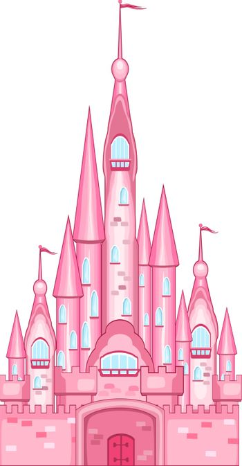 Cartoon pink castle on a white background. Towers, walls, gates.