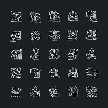 Job vacancy chalk white icons set on black background