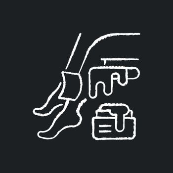 Waxing chalk white icon on black background
