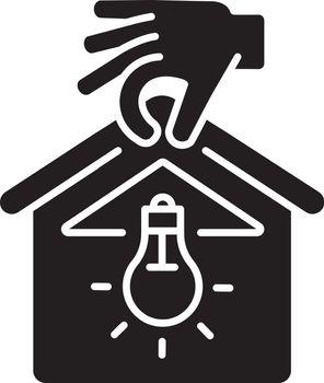 Lighting installation black glyph icon