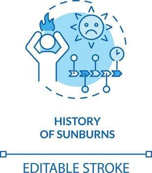 History of sunburns concept icon