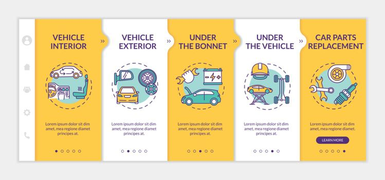 Automobile maintenance onboarding vector template