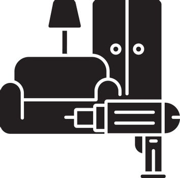 Furniture installation black glyph icon