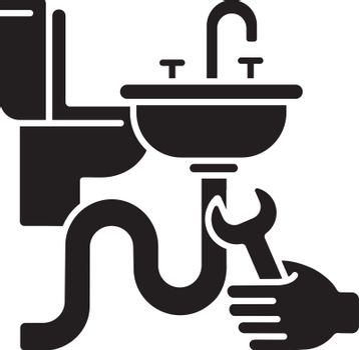 Plumbing installation black glyph icon
