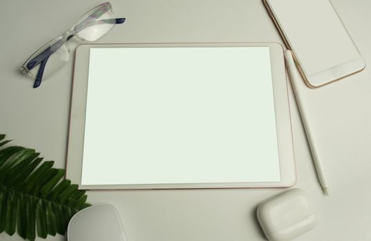 Office equipment model, top view, separate copy area, white background, screen focus selection.