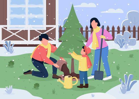 Family plant tree semi flat vector illustration