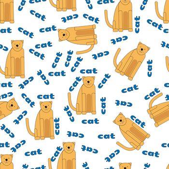 Vector cartoon seamless pattern with cute orange cats