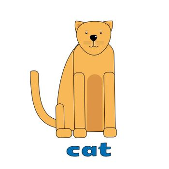 ginger cat card for english lessons. Vector illustration.