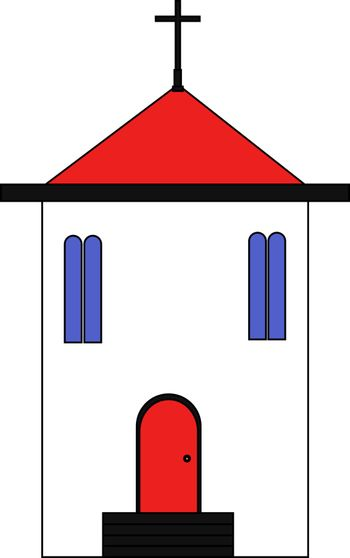 church with a red roof in flat style. vector illustration.