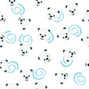seamless pattern of bear heads and blue spirals.