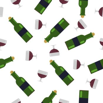 Seamless Pattern.a glass of wine and a green bottle. with grape wine. illustration in flat style.