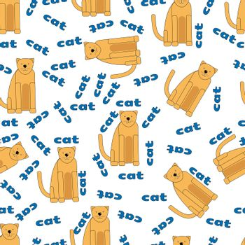 cartoon seamless pattern with cute orange cats