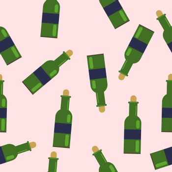 seamless pattern from green bottles. with grape wine. illustration in flat style.