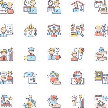 Job vacancy RGB color icons set