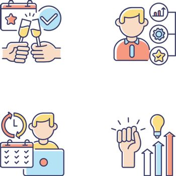 Company occupation RGB color icons set