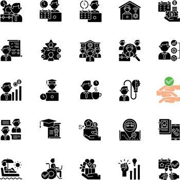 Job vacancy black glyph icons set on white space
