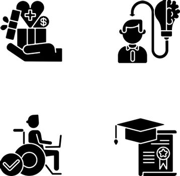 Business occupation black glyph icons set on white space