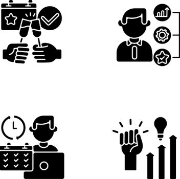 Company occupation black glyph icons set on white space