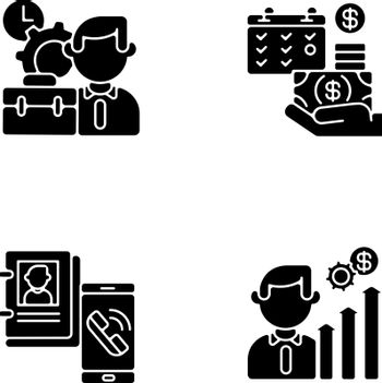 Professional occupation black glyph icons set on white space