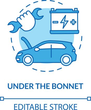 Under automobile bonnet concept icon