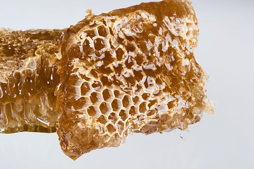 Pieces of honeycombs with organic honey on a white table