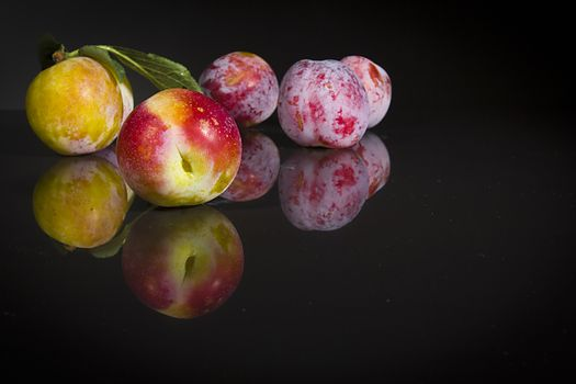 Ripe plums on a black reflective surface