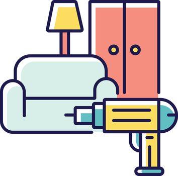 Furniture installation RGB color icon