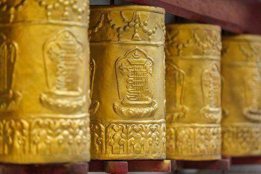 Prayer wheels in Tabo Monastery