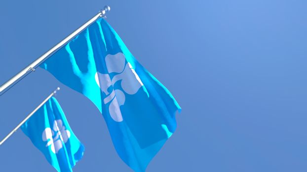 3D rendering of the national flag of Organization of the Petroleum Exporting Countries