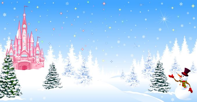 Pink castle. Winter landscape. The night before Christmas. Trees, snow, forest. Shining stars and snowflakes in the night sky. Christmas winter night scene. The snowman welcomes.