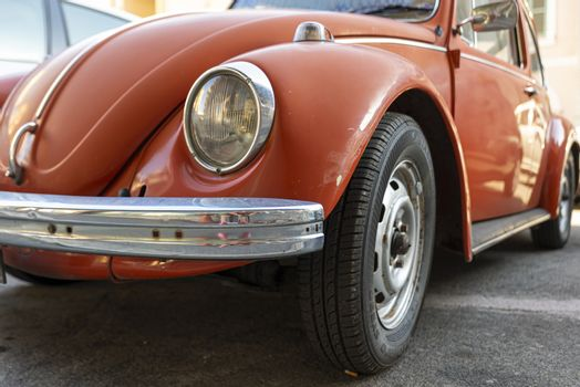 terni,italy august 28 2020:detail of a vintage volkswagen beetle colo