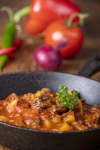 hungarian goulash with meat and potatoes