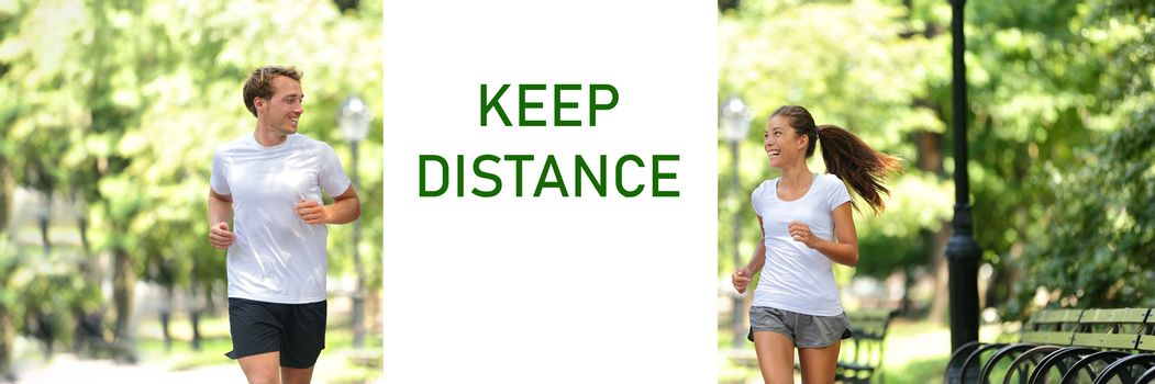 Social distancing KEEP DISTANCE Covid-19 sign friends talking happy panoramic banner. Asian woman speaking to man. Active runners running together in city park outdoor. Coronavirus prevention text.
