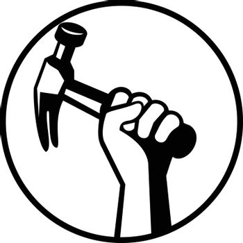 Black and white illustration of hand of a carpenter builder or handyman holding a hammer viewed from side set inside circle on isolated background done in retro style.