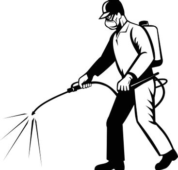 Retro black and white style illustration of a pest control exterminator spraying chemical disinfectant or pesticide viewed from side on isolated background.