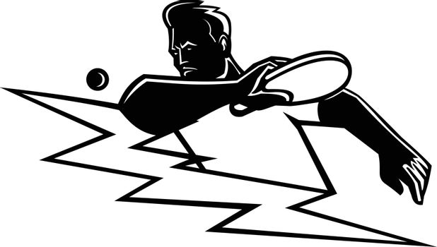 Black and white Mascot illustration of a table tennis or ping-pong player striking a ping pong ball with paddle or racket with lightning bolt or thunderbolt on isolated background in retro style.