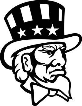 Head of American Symbol Uncle Sam Mascot Black and White