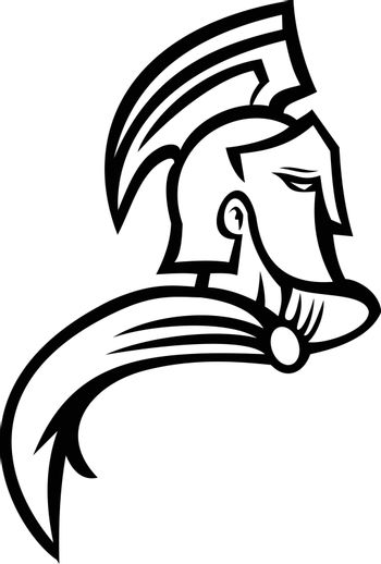 Bust of Trojan Warrior Side View Mascot Black and White
