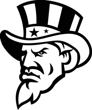 Head of American Uncle Sam Wearing USA Top Hat Mascot Black and White